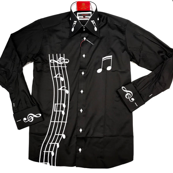 Axxess Black Music Note Embroidery French Cuff Button Up Shirt