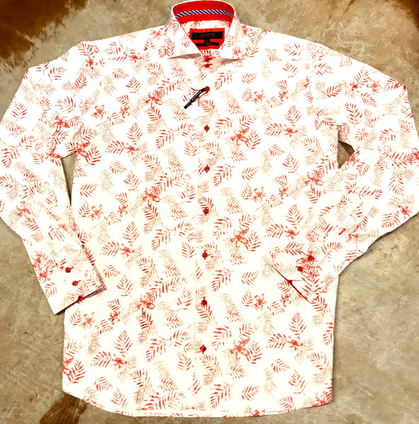 Axxess White Red Pine Leaves Button Up Shirt