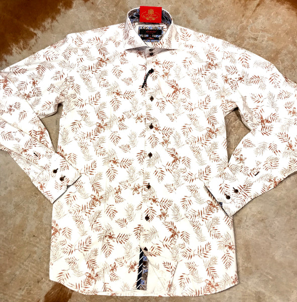 Axxess White Brown Pine Leaves Button Up Shirt