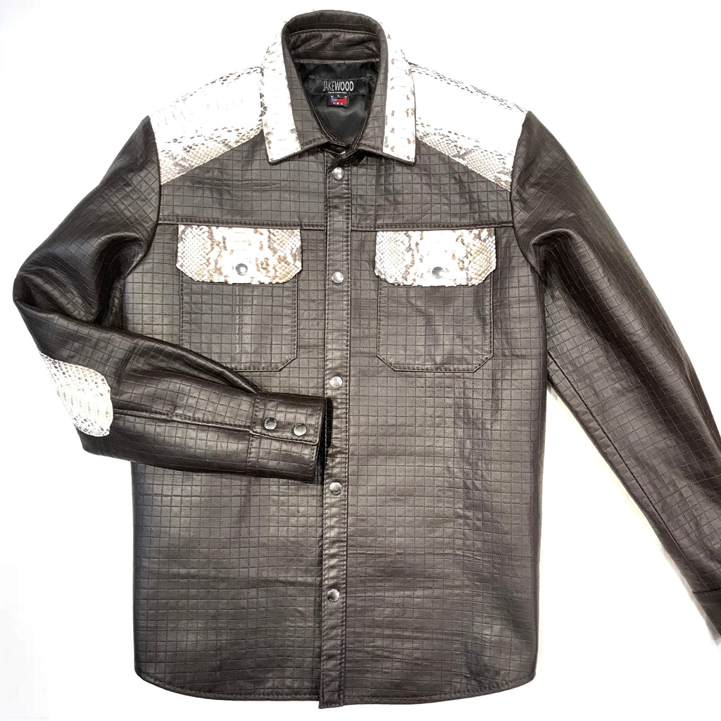 Kashani Natural Quilted Python Snake Button Up Jacket - Dudes Boutique