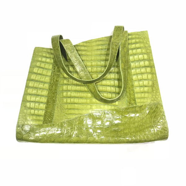 Kashani Lime Green All Over Alligator Purse Handbag