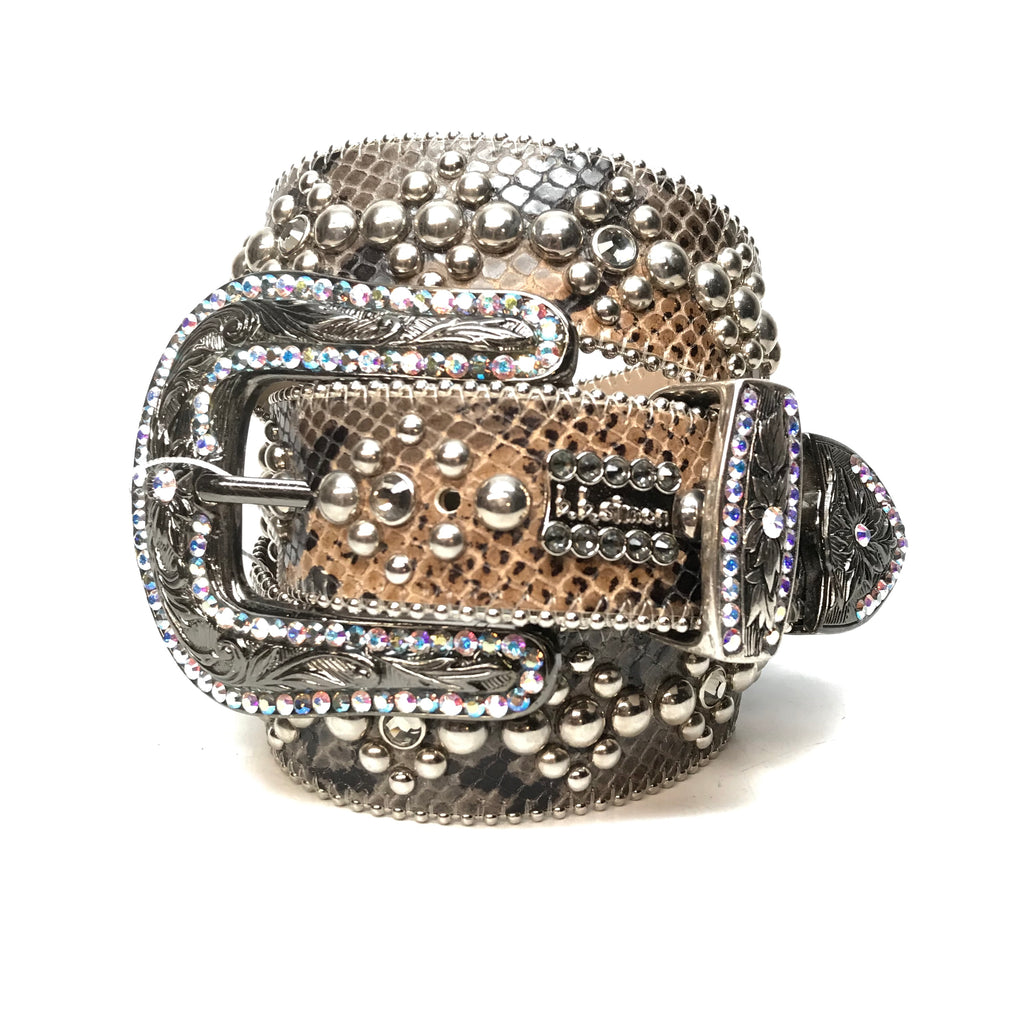 b.b. Simon 'Python Triple Studded' Crystal Belt - Dudes Boutique