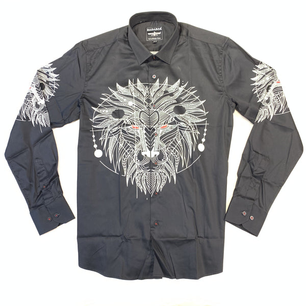 Barabas Abstract Sun Face Button Up Shirt