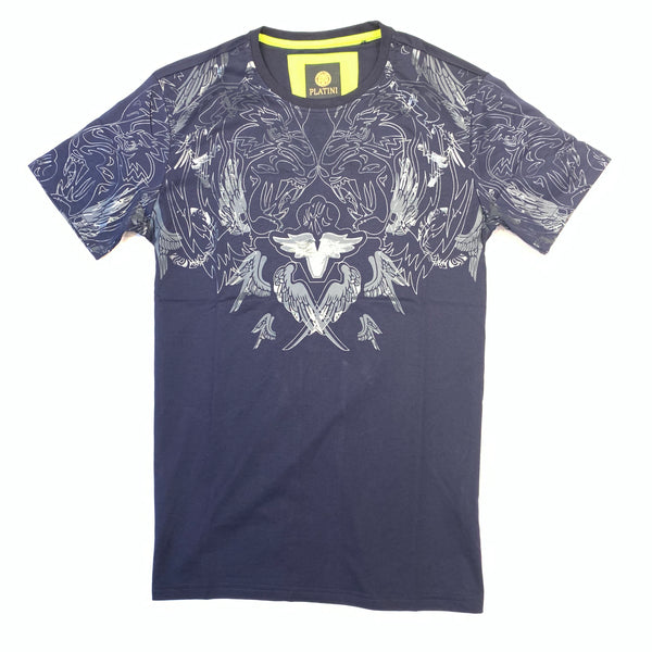 Platini Men's Navy Blue Feather Wing Short Sleeve T-Shirt - Dudes Boutique
