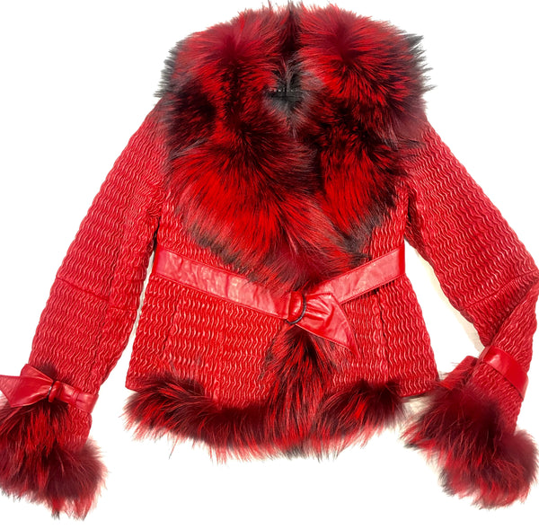 Vericci Red Fox Weaved Biker Jacket