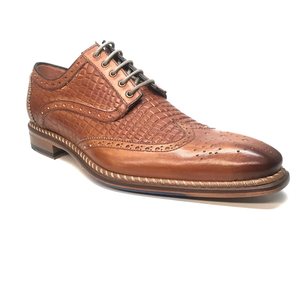 Jose Real Cognac Embossed Leather Wing-tip Dress Shoes