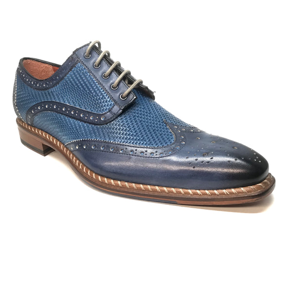 Jose Real Blue Woven Leather Wing-tip Dress Shoes