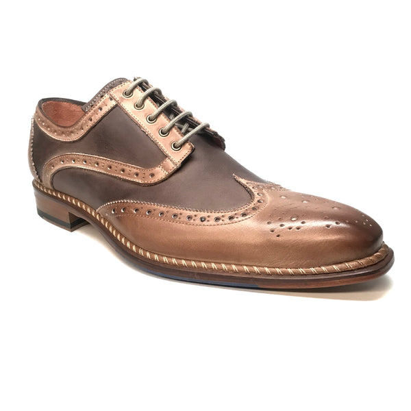 Jose Real Espresso Two Tone Leather Wing-tip Dress Shoes