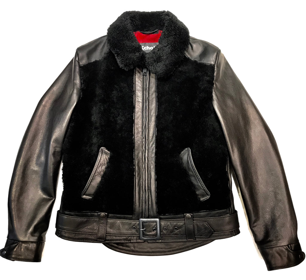 Schott Ladies Black Natural Shearling Jacket