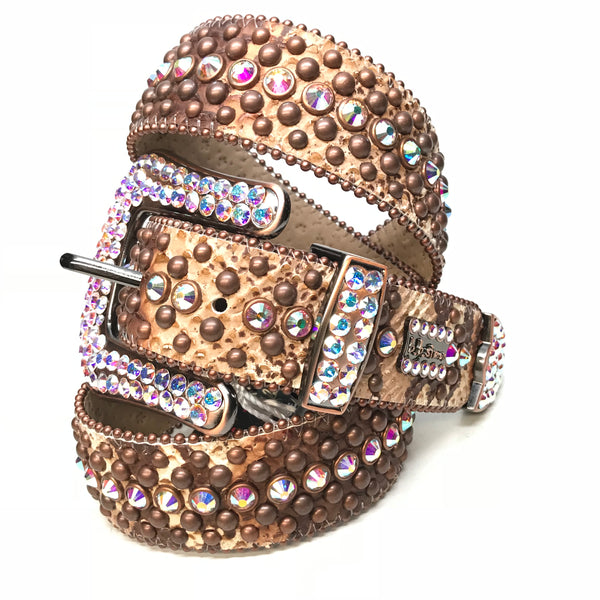 b.b. Simon Rust Iridescent Pirarucu Swarovski Crystal Belt