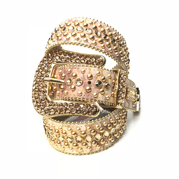 b.b. Simon Dune Gold Pirarucu Swarovski Crystal Belt