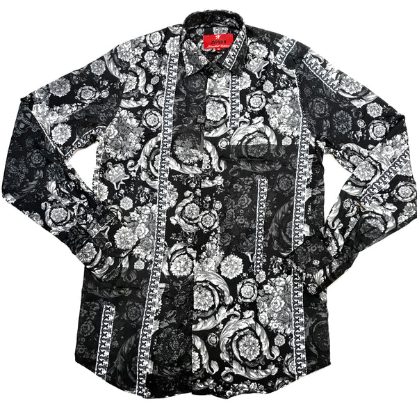 Mondo Black Roses Royal Button Up Shirt - Dudes Boutique