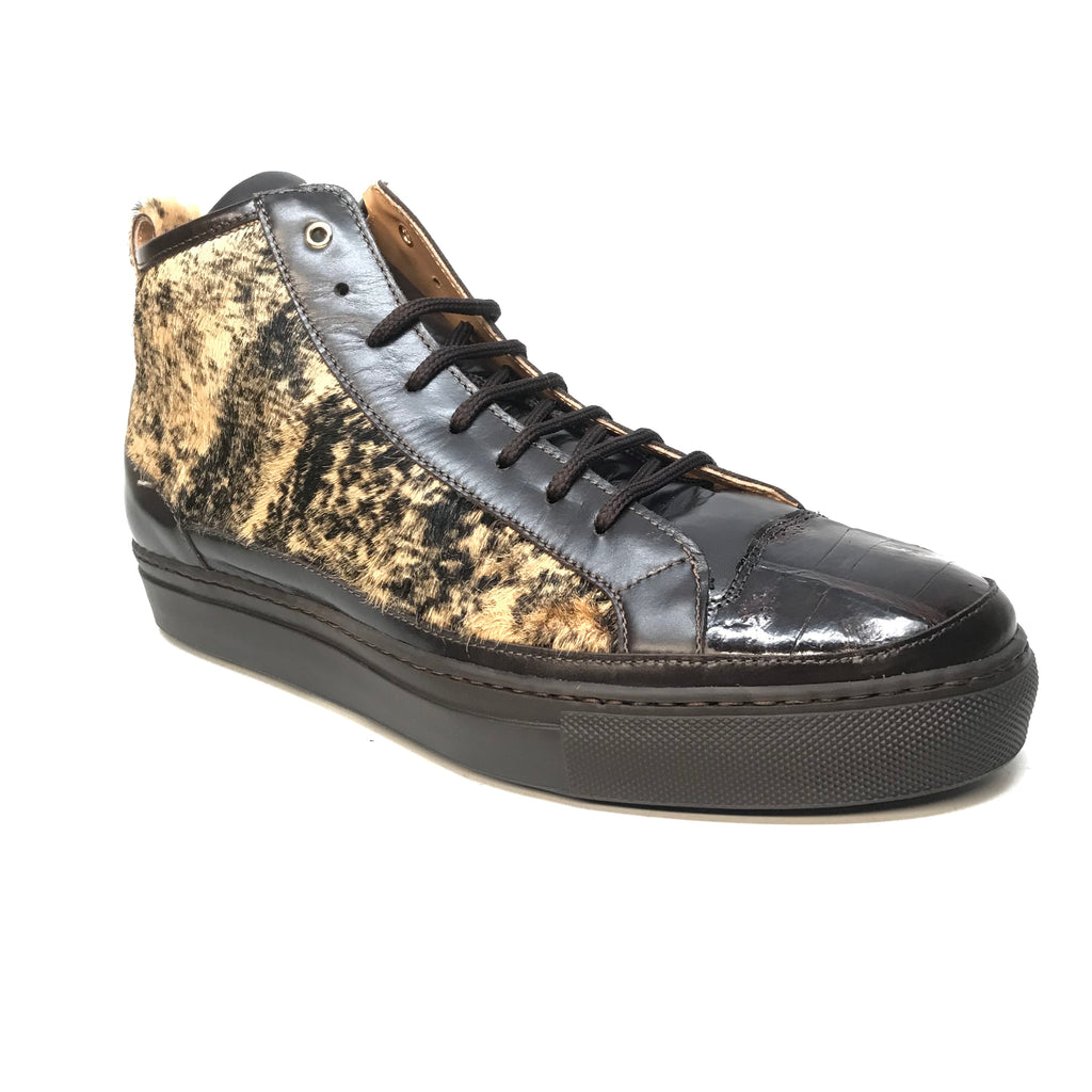Mauri 8554 Dark Brown Pony Hair Crocodile High-Top Sneakers - Dudes Boutique