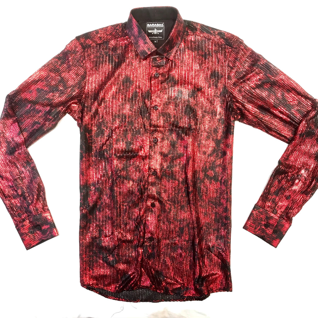 Barabas Red Chained Laced Button Up Shirt - Dudes Boutique