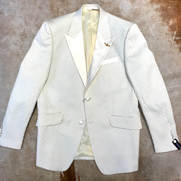Barabas White Diamond Cut Shine Blazer