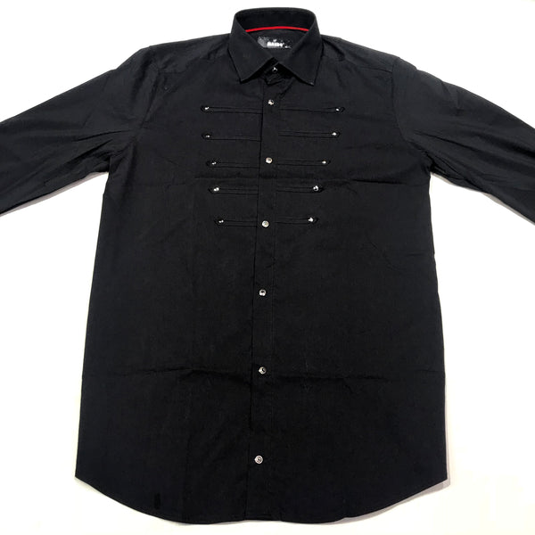 Mondo Mandarin Royal Black Button Up Shirt - Dudes Boutique