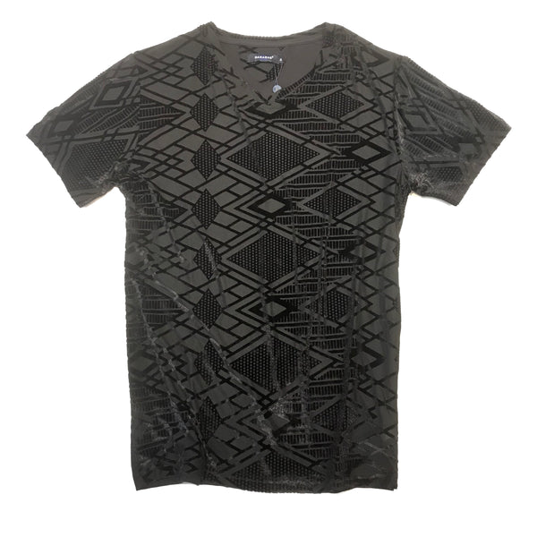 Barabas Black Asymmetrical V-Neck Shirt