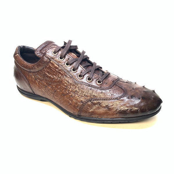 Calzoleria Toscana Dark Brown Ostrich Quill Lace Up Sneakers
