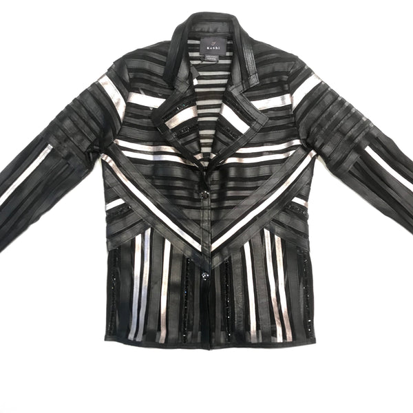 Kushi Silver Striped Lambskin Sheer Button Up Jacket