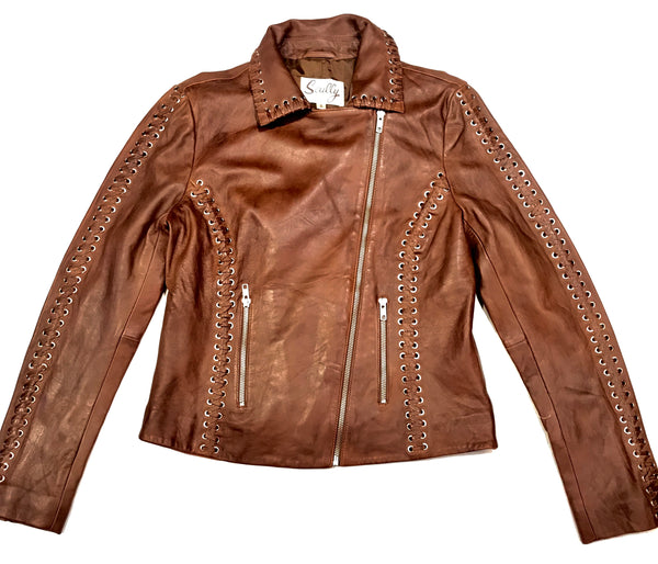 Scully Ladies Mocha Weaved Biker Jacket