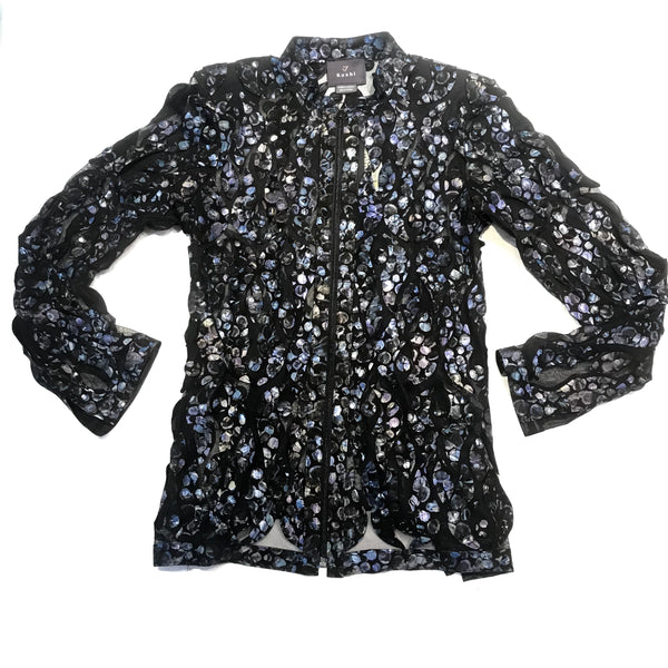 Kushi Blue Floral Lambskin Zip Up Sheer Shirt
