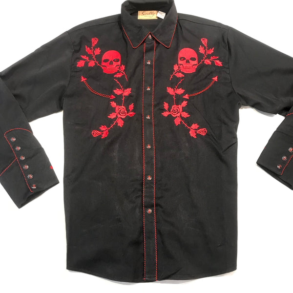 Scully Red Skull Western Long Sleeve Shirt