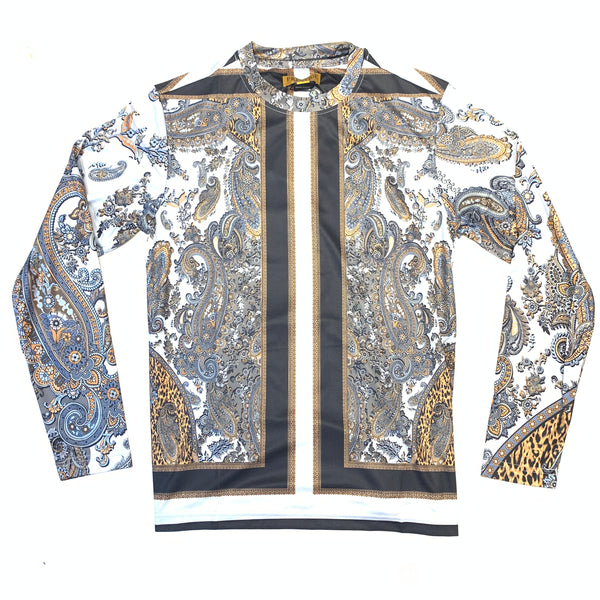 Prestige Men's Black Grey Paisley L/S Shirt - Dudes Boutique
