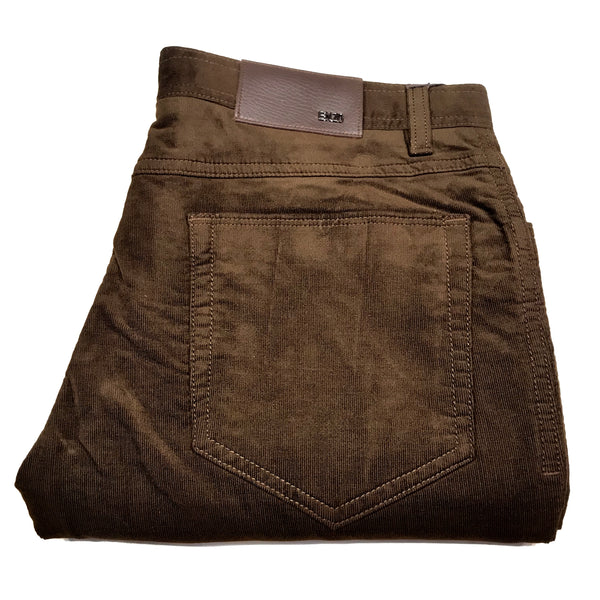 Enzo Albert-114 Brown Corduroy High-end Trousers - Dudes Boutique