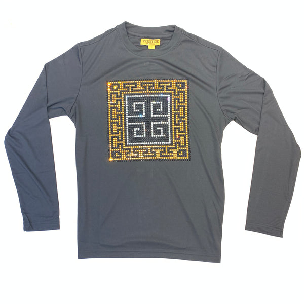 Prestige Black Gold Crystal Greek Key L/S Shirt - Dudes Boutique