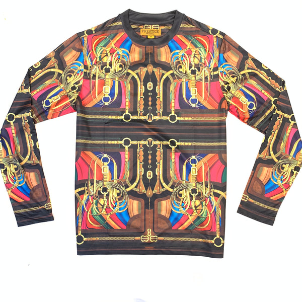 Prestige Men's Black Multi Chained Strap L/S Shirt - Dudes Boutique
