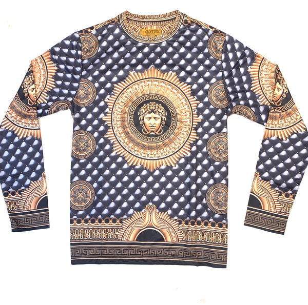 Prestige Men's Black Gold Milan Medusa L/S Shirt - Dudes Boutique