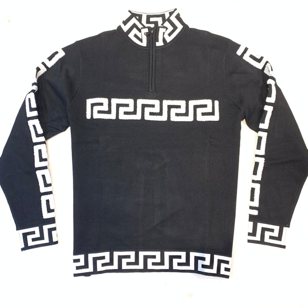 Prestige Men's Black Greek Key Sweater - Dudes Boutique