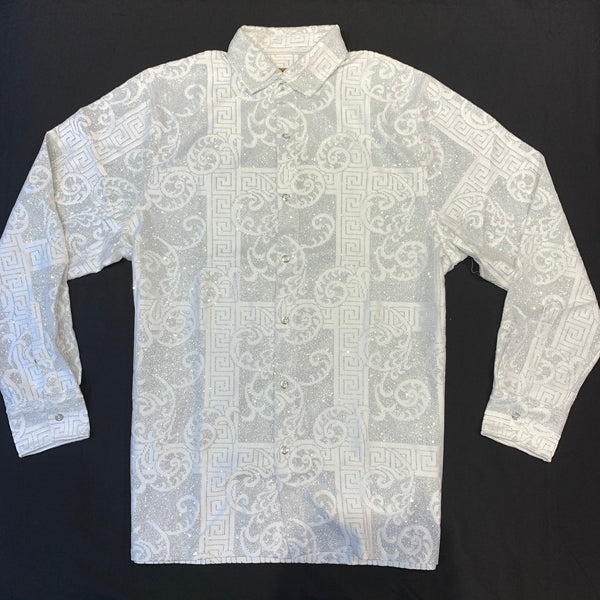 Prestige White Silver Paisley Laced Button Up Shirt