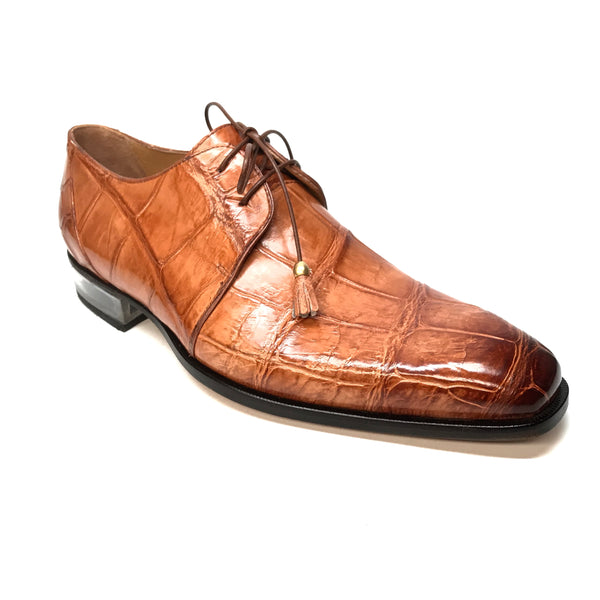Mauri 4851 Cognac Alligator Body Lace Up Dress Shoes