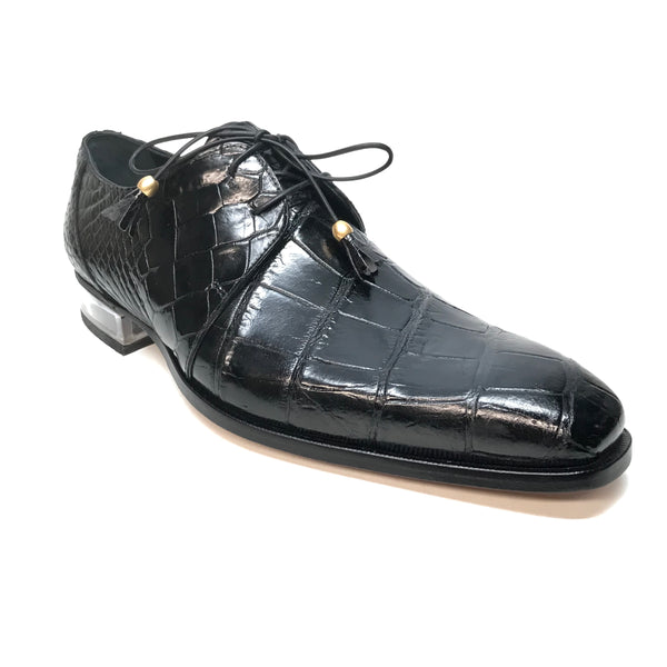 Mauri 4851 Black Alligator Body Lace Up Dress Shoes