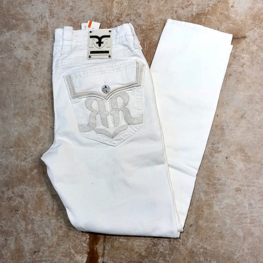 Rock Revival 'Double RR' White Ripped Denim Jeans