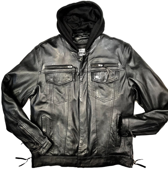 FMC Men's Black Leather Hooded Biker Jacket