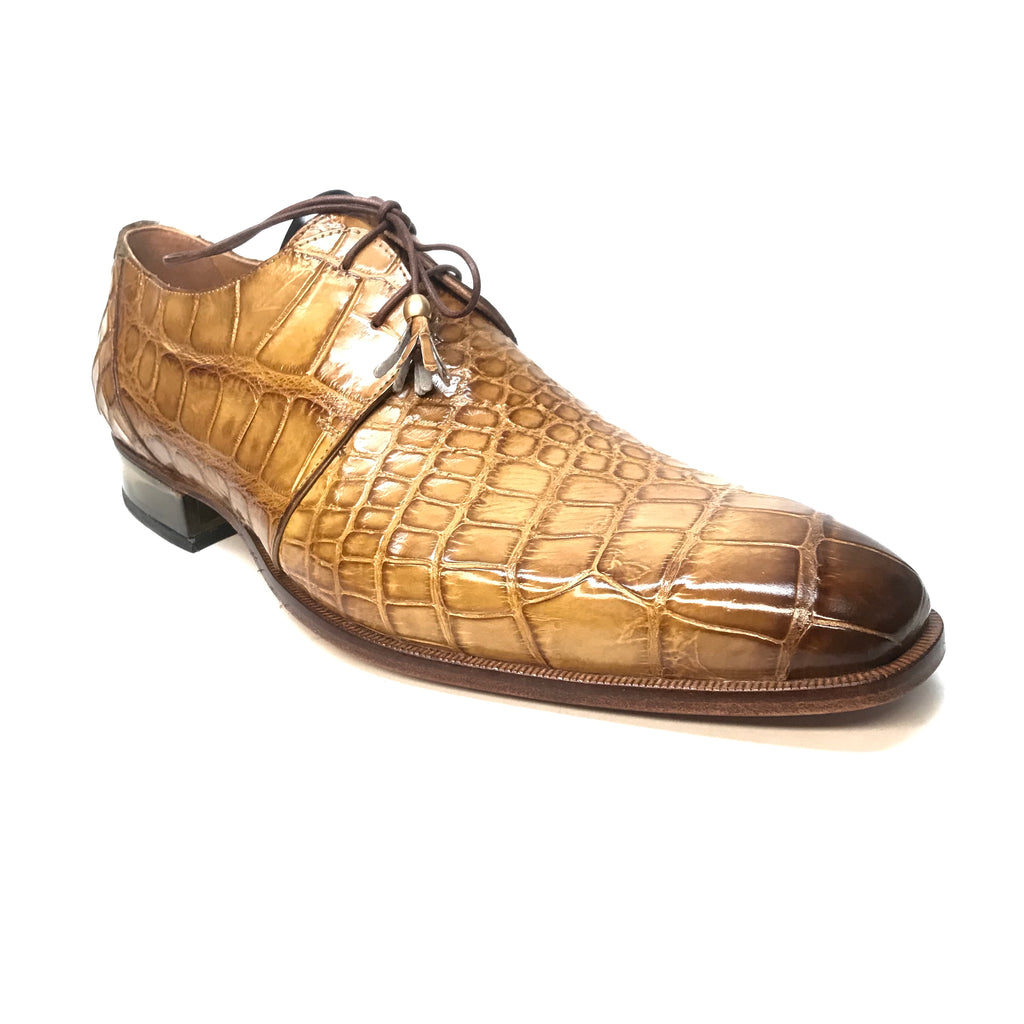Mauri 4851 Camel Gold Alligator Lace Up Dress Shoes - Dudes Boutique