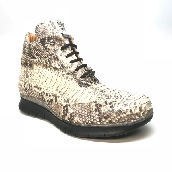 Mauri 8593 Natural Python Snakeskin Hightop Sneakers