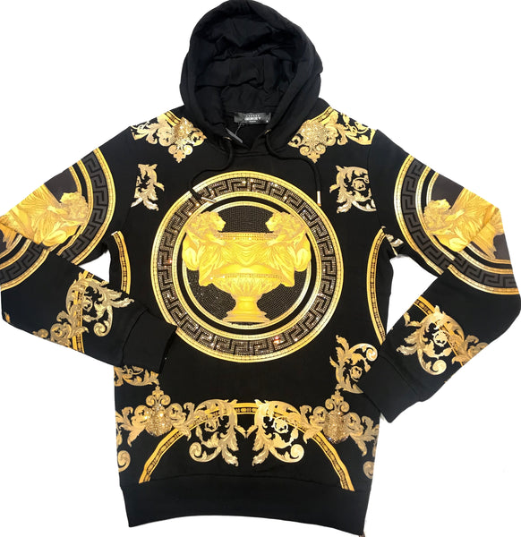 Avenue George V Paris Gold Crystal Royalty Hoodie - Dudes Boutique