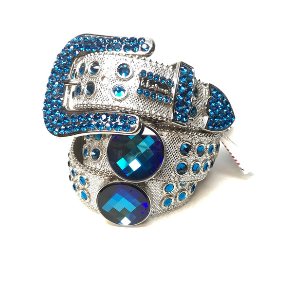 b.b. Simon 'Deep Ocean Drip' Blue Fully Loaded Swarovski Crystal Belt