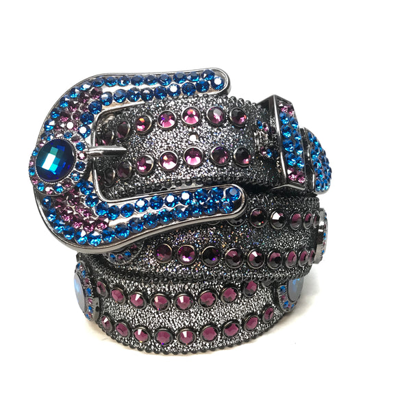 b.b. Simon 'Galaxy' Purple Blue Fully Loaded Swarovski Crystal Belt