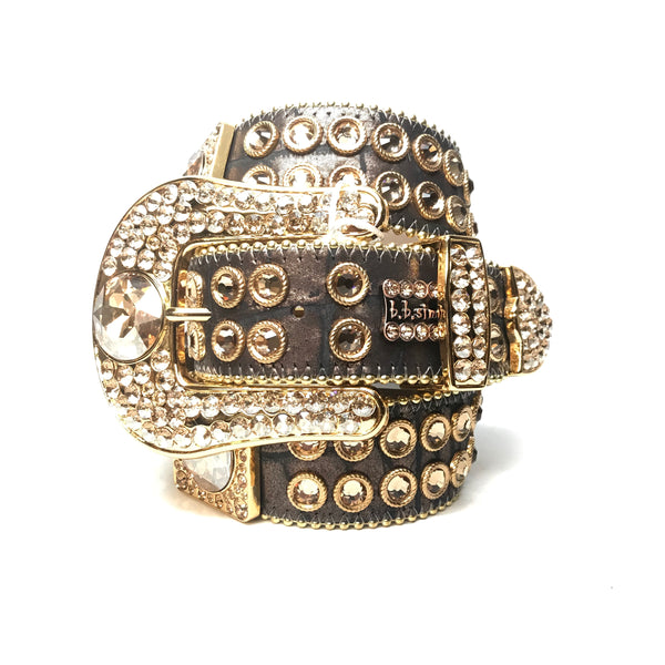 b.b. Simon 'Chocolate Gold' Big Block Swarovski Crystal Belt