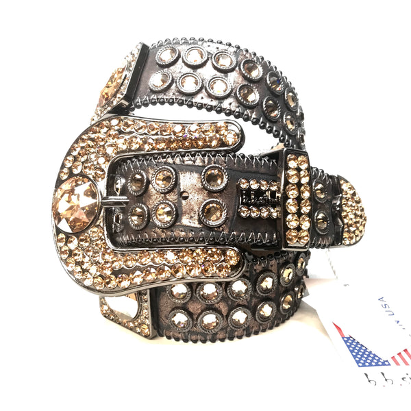 b.b. Simon 'Dark Chocolate Gold' Big Block Swarovski Crystal Belt