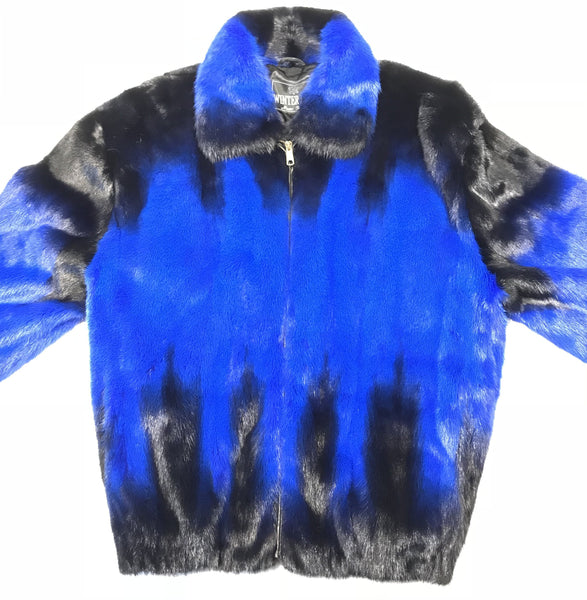 Kashani Blue Black Full Mink Fur Coat