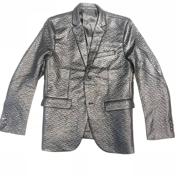 Barabas Black Quilted Shine 2-button Blazer