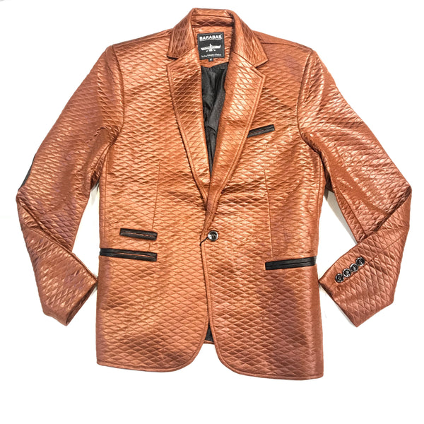 Barabas Cognac Quilted Shine 2-button Blazer