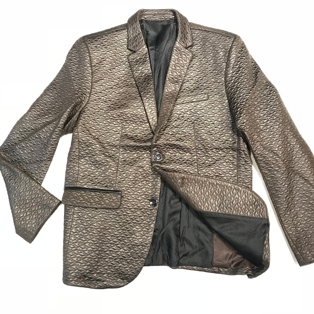 Barabas Espresso Quilted Shine 2-button Blazer - Dudes Boutique