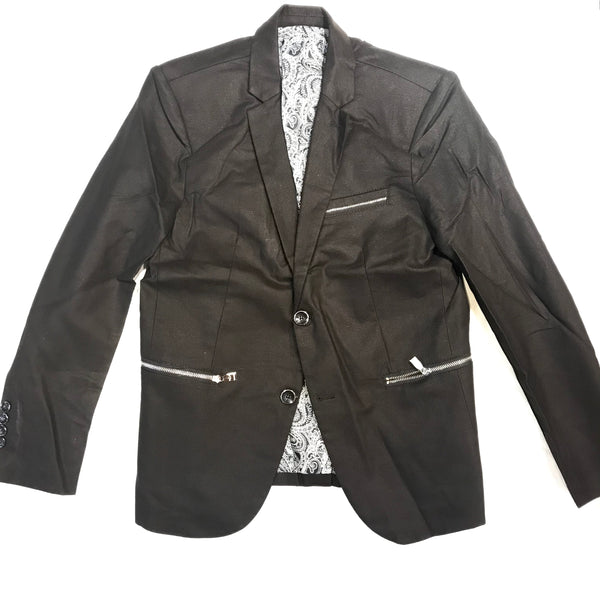 Barabas Black Zipper Cut 2-button Blazer
