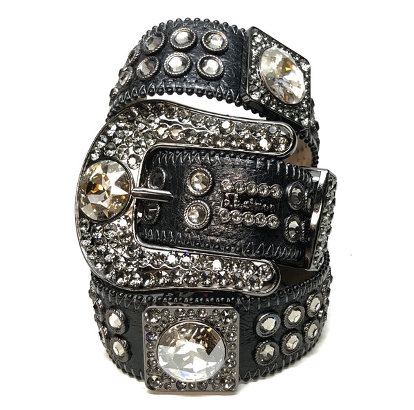 b.b. Simon Black Big Block Swarovski Crystal Belt